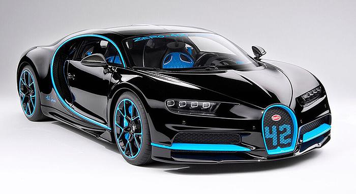 bugatti chiron 42 blk w/french racing blu stripes kyo-8664bk