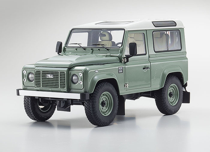 2015 Land Rover Defender 90, green metallic, painted steel wheels w/ white roof